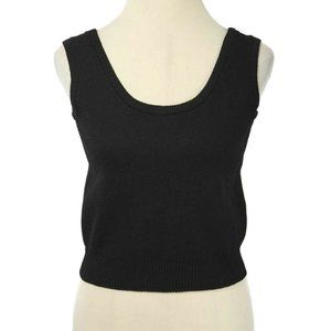 ST. JOHN Black Santana Knit Cropped Shell Tank Top